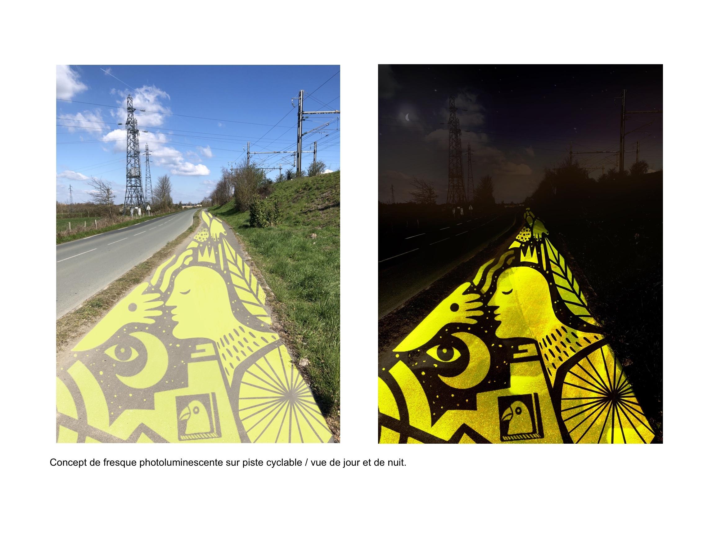 Fresque photoluminescente sur piste cyclable