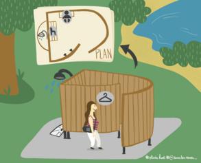25/ Des vestiaires et des douches au Lac de Maine