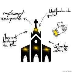 Illumination de l'église Sainte Thérèse