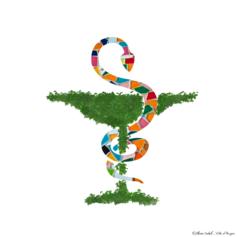 9/ Les angevins remercient tout le corps médical : Un caducée végétal